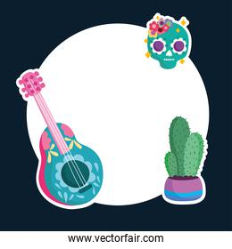 mexico culture traditional skull guitar and cactus label layout