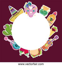 mexico culture skull hat tequila food guitar cactus banner template