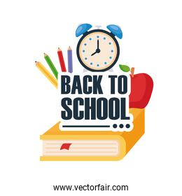 back to school lettering with clock alarm and school supplies