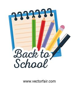 back to school lettering with pencils and notebook on white background