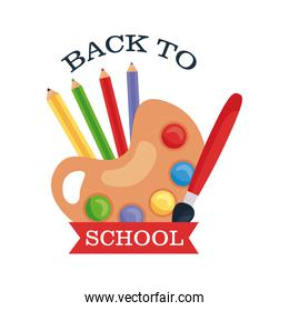 back to school lettering with paint palette, pencils and paintbrush