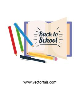 back to school lettering with pencils and notebook
