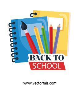 back to school lettering with pencils, paintbrush and notebook