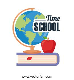 back to school lettering with globe sphere and apple over book