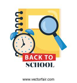 back to school lettering with notebook, magnifying glass and clock alarm