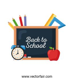 back to school lettering with chalkboard and supplies school