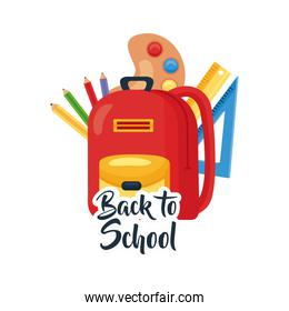 back to school lettering and backpack with school supplies