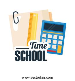 back to school lettering with calculator, ruler and paper