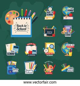 back to school set icons on green background