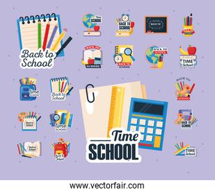 icons of back to school with decoration