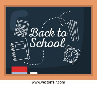 back to school poster drawing over chalkboard