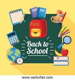 back to school poster with backpack and school supplies