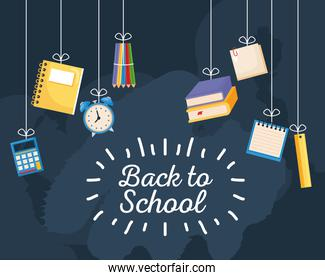 back to school poster with school supplies hanging