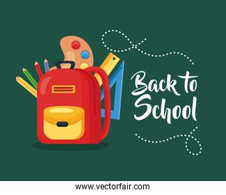 back to school poster with backpack and education supplies