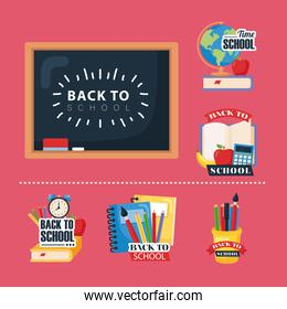 set icons of back to school