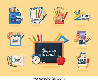 back to school set icons on yellow background
