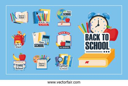back to school set icons on blue background