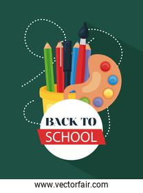 back to school poster with paint palette, pencils and paintbrush