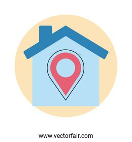 stay at home, house with pin location, covid19 prevention