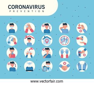 icons informative of covid19 prevention over blue background