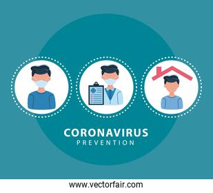icons covid19 prevention in circular frames