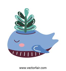 house plant in pot with dolphin, scandinavian style