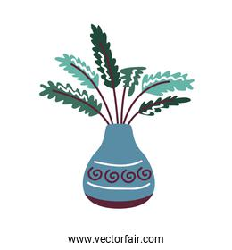 house plant in pot blue color with decoration, scandinavian style