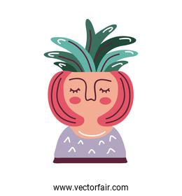 house plant in pot with face woman, scandinavian style