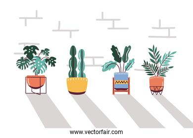 set icons house plants in pots, scandinavian style