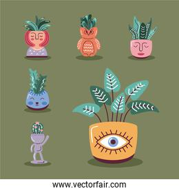 house plants icons in pots, scandinavian style