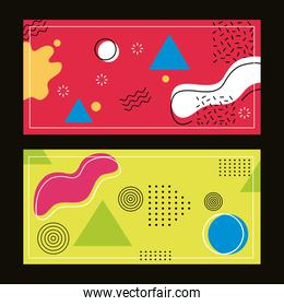 two backgrounds memphis style and geometric shapes