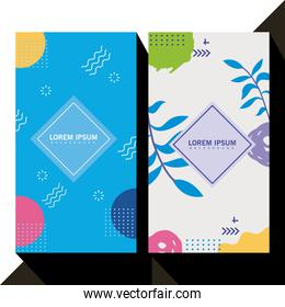 two backgrounds memphis style with geometric shapes