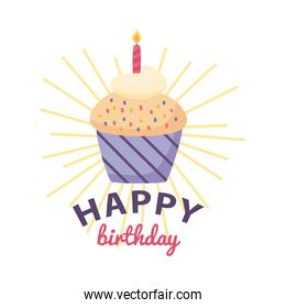 happy birthday badge with delicious cupcake on white background