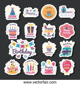 fifteen badges happy birthday with decoration