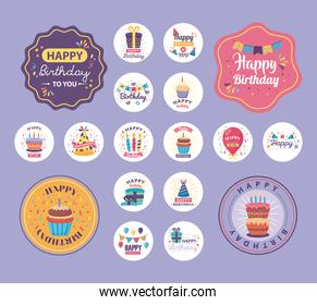 bundle of badges happy birthday with cute decoration