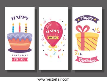 happy birthday banners with cute decoration