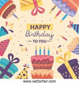 happy birthday poster with cute decoration