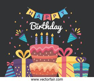 happy birthday poster with cake and gift boxes