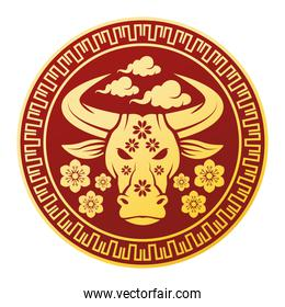 chinese new year 2021 golden ox in circular seal