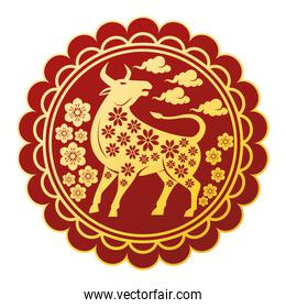 chinese new year 2021 golden ox in circular lace frame