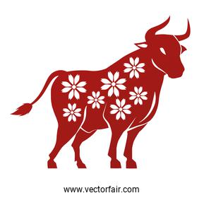 chinese new year 2021 ox silhouette with floral pattern