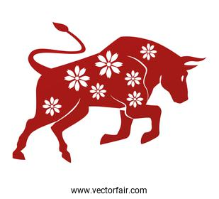 chinese new year 2021 ox with floral pattern