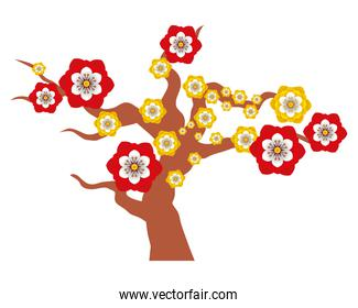chinese tree with flowers decorative icon