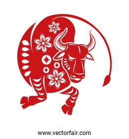 chinese new year 2021 red ox with floral pattern