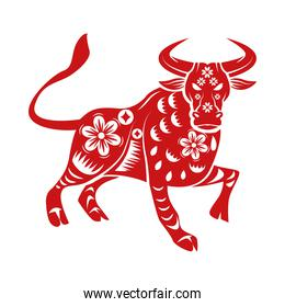 chinese new year 2021 red silhouette ox with floral pattern