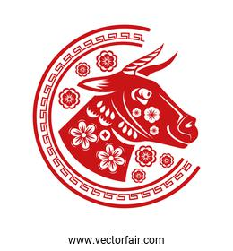 chinese new year 2021 red ox head with floral pattern