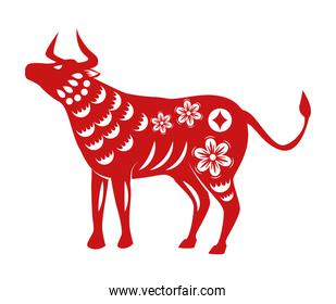 chinese new year 2021 red silhouette ox with flowers pattern