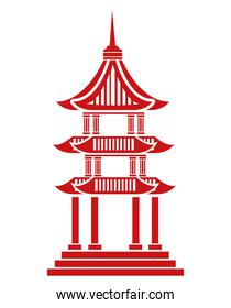 chinese red castle building icon