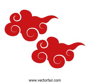 chinese red clouds decorative icon