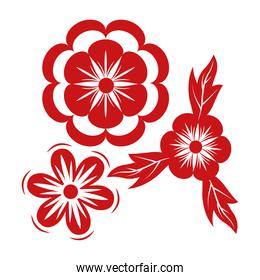 flowers and leafs red decorative icon
